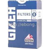 Фильтры для самокруток GIZEH Slim Filters Charcoal 8 мм 100 шт