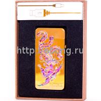 Зажигалка Электронная miniUSB Jin Lun Zodiac JL 603 Золотая