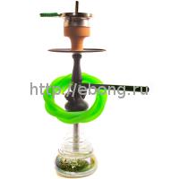 Кальян Amy Deluxe 340R + Hot screen (psmbk-gr) Колба Зелёная Шахта Чёрная h=38 см