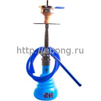 Кальян Amy Deluxe 4-Star 410 (b-bu) Колба Голубая Шахта Черный хром h=55 см