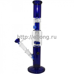 Бонг стекло Blue Double Barrel h=380 мм Grace Glass G1688BL