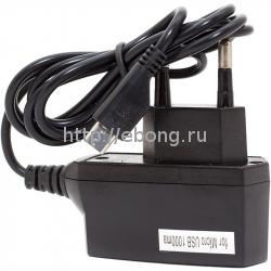 Сетевой адаптер 220V -> Glossar 1000 mA + кабель microUSB Черный