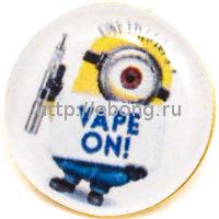 Металлический Значок Миньон Vape On! на Цанге Круг 17 мм