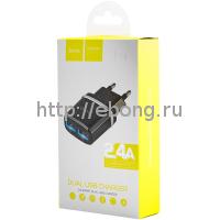 Адаптер Сетевой Hoco C12 2USB 2,4 А Черный