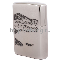 Зажигалка Zippo 200 Alligator Brushed Chrome Бензиновая