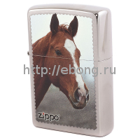 Зажигалка Zippo 200 Рыжая Лошадь Brushed Chrome Бензиновая